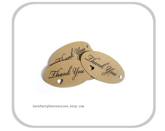 Favor Tags Wedding- Small Oval Favor Tags- Heart Punch- Thank You Tags- Kraft Paper Tags- Gift Tags Choose Quantity