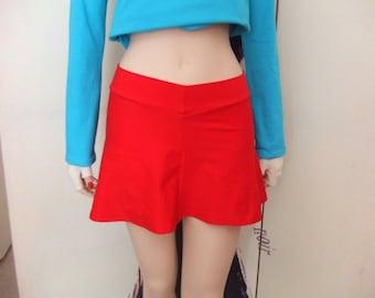 womens red mini flirt skirt, with gold latex print across back