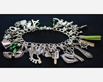 Green Fifty Shades of Grey Charms Bracelet