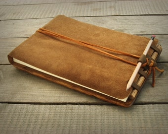 Sketchbook for artists  with distressed oak wood back cover / natural finish / made to order