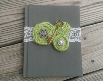Grey and Green Gatsby Guest Book, Grey and Green Vintage Guest book, Skeleton key guest book.