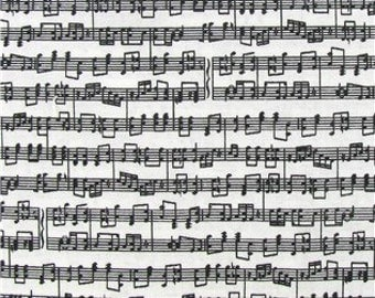 Music Notes Black & White Fabric BTY 100% Cotton Quilting Apparel Crafts Home decor