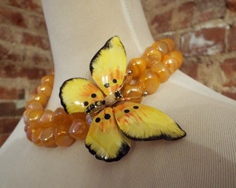 Orange Czech Glass Necklace w/Vintage Butterfly Brooch