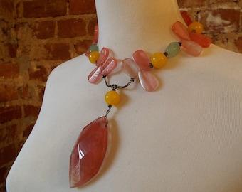 Bold Cherry Quartz, Amber & Jade Statement Necklace w/Pendant
