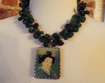 Bold Dark Green Coral Statement Necklace w/ Asian Geisha Pendant