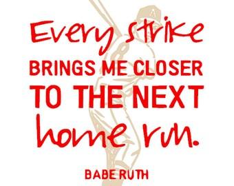 Boys Babe Ruth Baseball Large Wall Decal