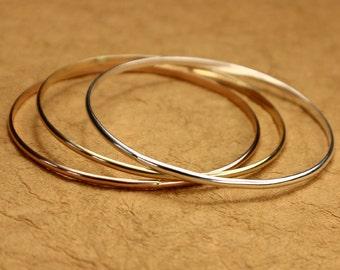 Set of 3 Tri-Colored Bangles - Sterling Silver Bangle, Gold Bracelet, Rose Gold Bracelet, Delicate Bracelet, Thin Bangle Bracelet Set