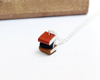 Tiny Pile of Books Necklace - Orange, Charocal, Yellow Ochre Mini Book Stack Jewellery - Colourful Leather Literature Jewellery - OOAK