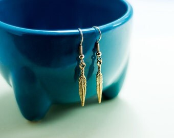 Gold feather drop earrings with gift box - gold tone feather earrings - boho feather earrings