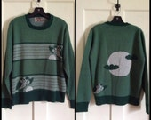 1970s Owl Moon Picture Halloween Scene Pullover Sweater size Large