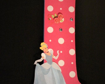Pink Polka Dots With Cinderella Custom Handmade Wooden Letters, Nursery Name Decor, Hanging Wood Wall Deco