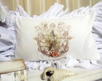 Romantic French  Pillow White Linen Ruffle Pillow with Muslin Ruffle