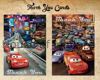 Disney Cars Thank You Cards