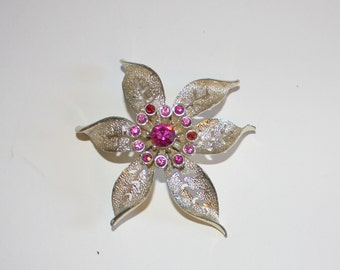 Pink And Silver Flower Pin/Brooch