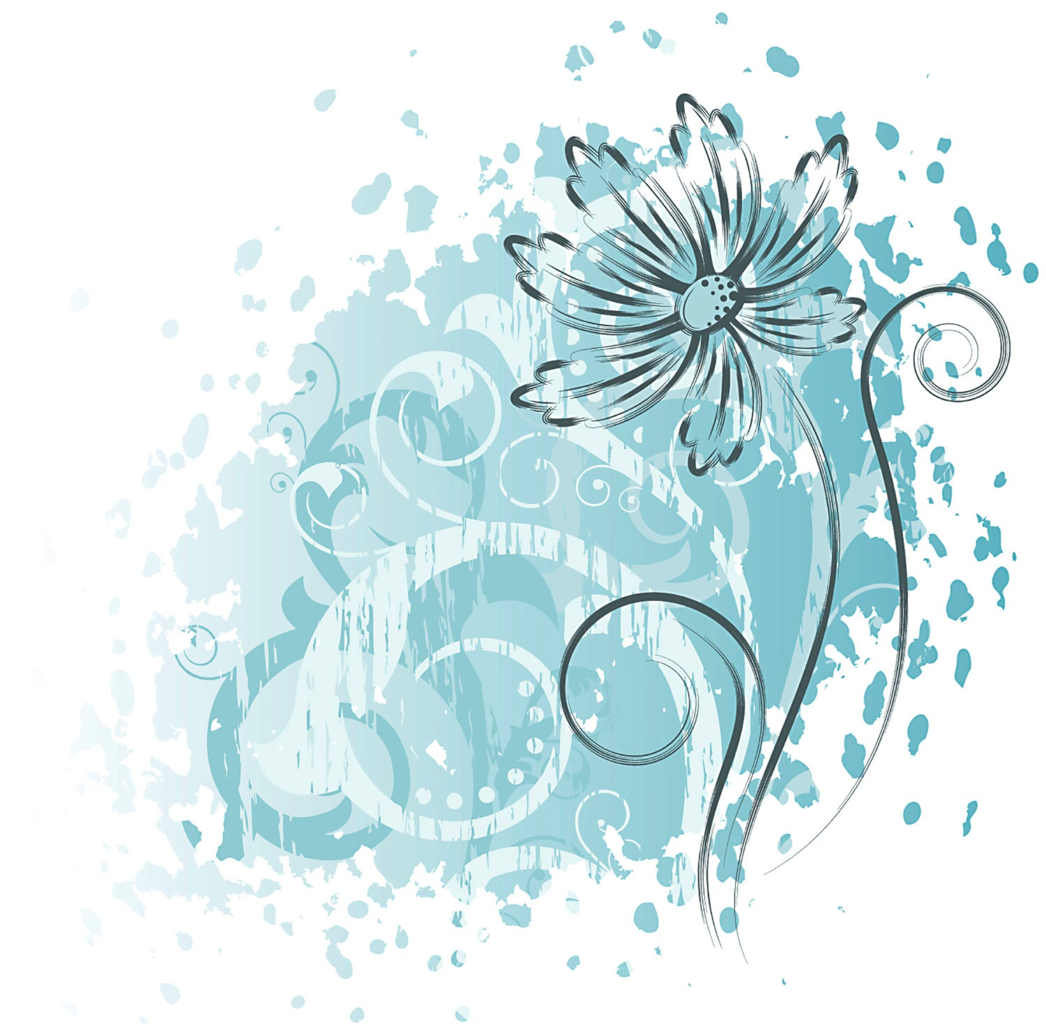 Blue Floral Wall Decal Floral Pattern Wall Decal Floral