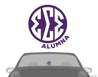 TriSigma Sigma Sigma Sigma Monogram Alumna Car Laptop Dorm Window Vinyl Sorority Decal Sticker