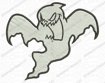 Scary Ghost Embroidery Design in 3x3 4x4 and 5x7 Sizes
