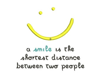 Smile Happy Quote Embroidery Design in 3x3 4x4 and 5x7 Sizes