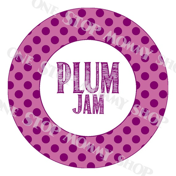 Printable Plum Jam Canning Lid Labels