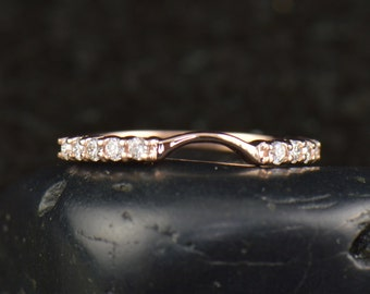 Dania - Diamond Wedding Band in Rose Gold, Round Brilliant Cut, Shared Prong Setting, Curved to Fit Flush, 1/2 Eternity Style, Free Shipping