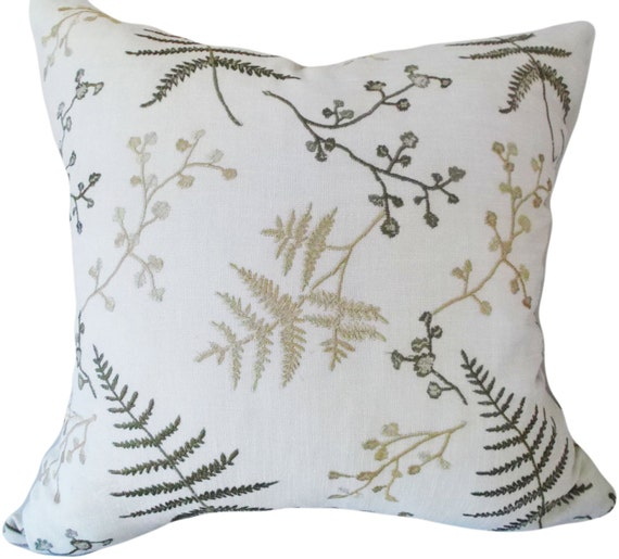 Botanical Fern and Branch Embroidered Decorative Pillow Cover - 18x18, 20x20 - Throw Pillow - Accent Pillow - Linen - Solid Gold Back