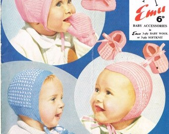baby hats and bonnets  vintage knitting pattern PDF
