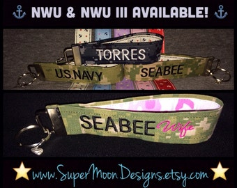 Navy/Seabee Support Wristlet!  Support your favorite sailor/seabee in style! Totally customizable!  Hundreds of combinations! 100% YOU!