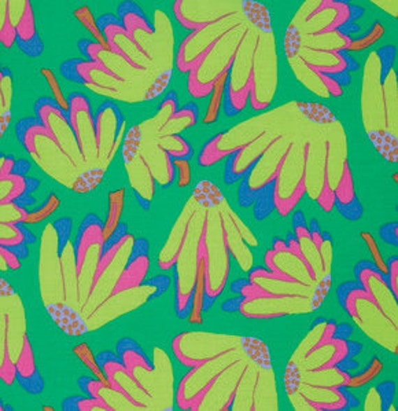 LAZY DAISY Emerald  RETIRED PWBM044 Brandon Mably Kaffe Fassett Collective Sold in 1/2 yd increments