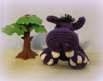Stuffed Hippo, Stuffed Animal, Hippopotamus, Stuffed Toy, Crochet Toy, Crochet Hippo, Crochet Doll, Purple, baby shower gift, soft toy