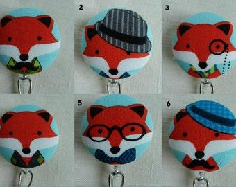 Fox Badge reel~ Retractable ID Badge Holder Reel, Name Tag Holder