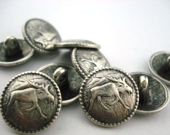 "Moose Metal Button Antique Silver w Shank 5/8"" Qty 3 Leather Wrap Clasp Wildlife Moosey"