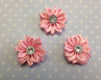 "1.5"" Light Pink Mini Satin Flowers  with Rhinestone Center - 3 Pieces-Baby Headband-Brooch-Girl-Applique-Clippie"