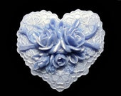 Purple Heart Soap, Japanese Cherry Blossom Glycerin and Shea Butter Soap, Shower Favor, Wedding Favor, Gift under 10