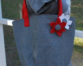 University of Alabama Crimson Tide Crimson and Houndstooth Flower Tote Bag Purse with Monogramming