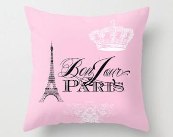 Pink Paris pillow, Bonjour Paris throw pillow, Eiffel Tower, girlie, crown, throw pillow, home, decor, designer