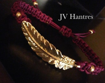 Garnet and Gold Feather Bracelet - QTY - 1