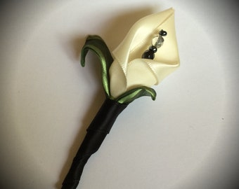 Ivory & Black Calla Lilly Boutonniere