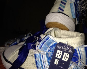 Dr. Who Tardis Inspired Headband/Hair Clip and Toddler Hi Tops - Size 9 Set