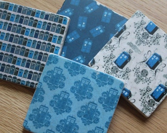 Set of 4 Tumbled Marble Tile Coasters - Doctor Who Tardis Patterns