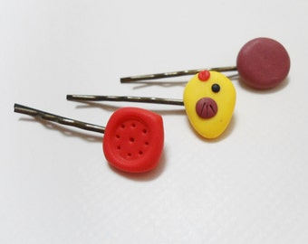 FIMO bird bobby pins, Set of 3 geometric polymer clay hair clips