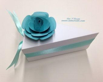 Cake Slice Boxes Turquoise Cake Box Cake Slice Favors Cake Boxes Baby Shower White With Turquoise
