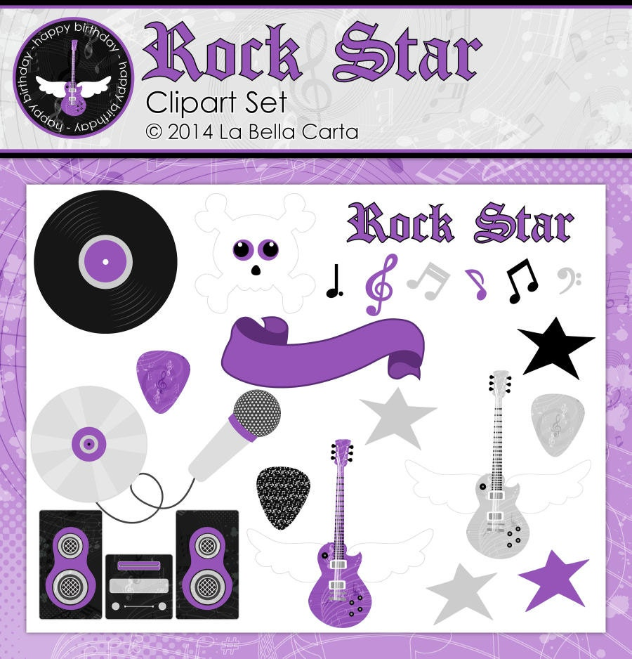 Rock Star Border Clip Art Rock star purple clipart for scrapbooking ...