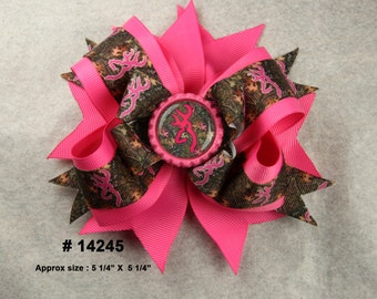 Hot Pink Browning Layered Boutique Bow with Matching Bottle Cap Center Girls Hair Bow