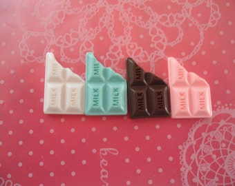 Tiny Milk Chocolate Bars Cabochons Flatback 12mm x 20mm - 4pcs