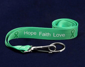 Green Ribbon Lanyard - Hope Faith Love (RE-LAN-13H)