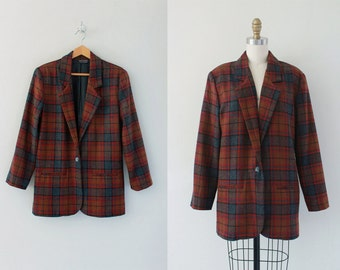 FINAL SALE! oversized plaid wool jacket / 80s plaid blazer / oversized plad jacket / plaid blazer extra long