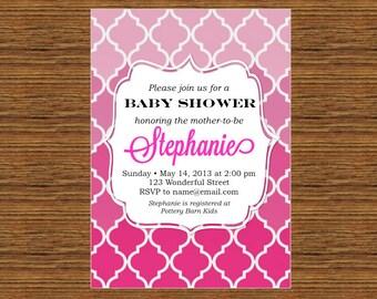 PRINTABLE Custom Invitation - Pink Ombre Baby Shower Invitation