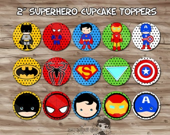 Superhero Cupcake Toppers, Superhero Birthday Party Supplies, Cupcake, Cupcake Toppers, Superhero Party - JPG Digital File, INSTANT DOWNLOAD