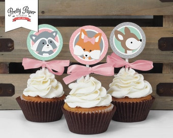 Girl Woodland Cupcake Toppers // INSTANT DOWNLOAD // Favor Tags // Girl Fox Birthday Decor // Mint & Pink // Digital Printable BP02