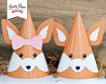 Woodland Fox Party Hats // INSTANT DOWNLOAD // Printable Woodland Birthday Party Decor // Boy and Girl  // Digital BP01 bp02 bp03